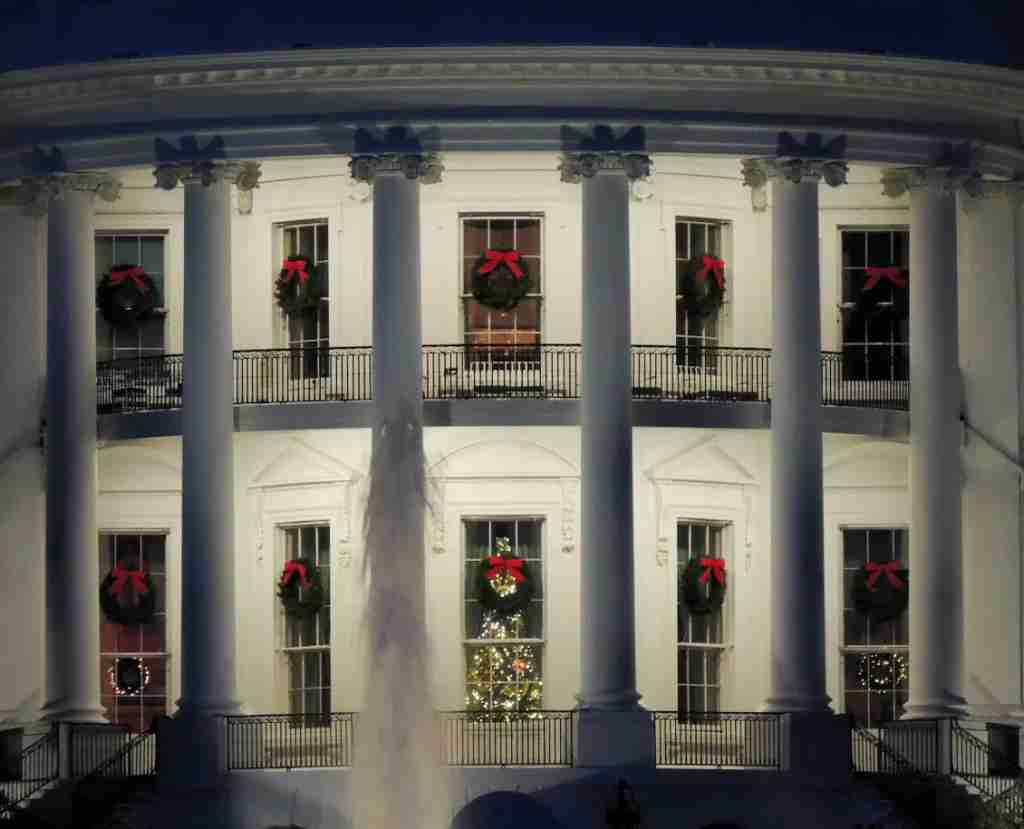 White House Blue Room at Christmas