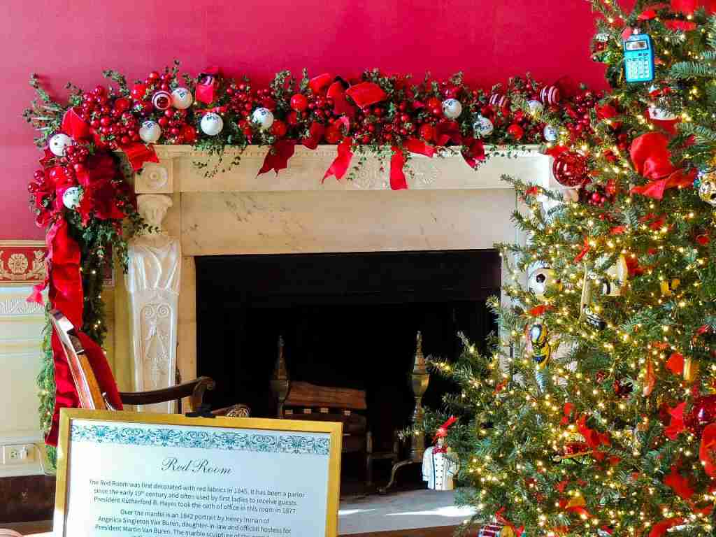 White House Red Room at Christmas