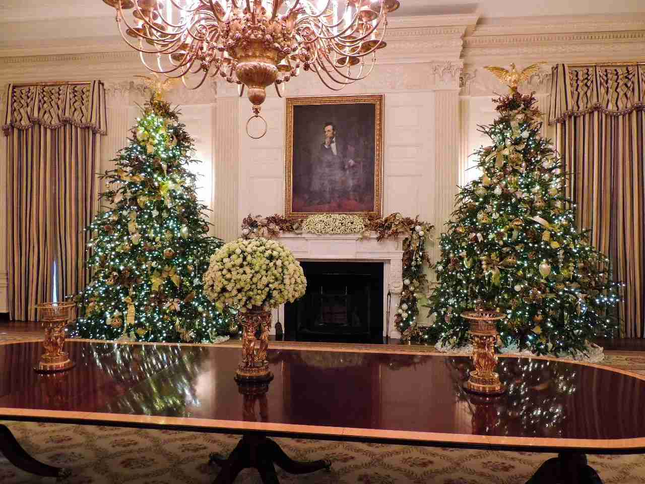 White House State Dining Room at Christmas