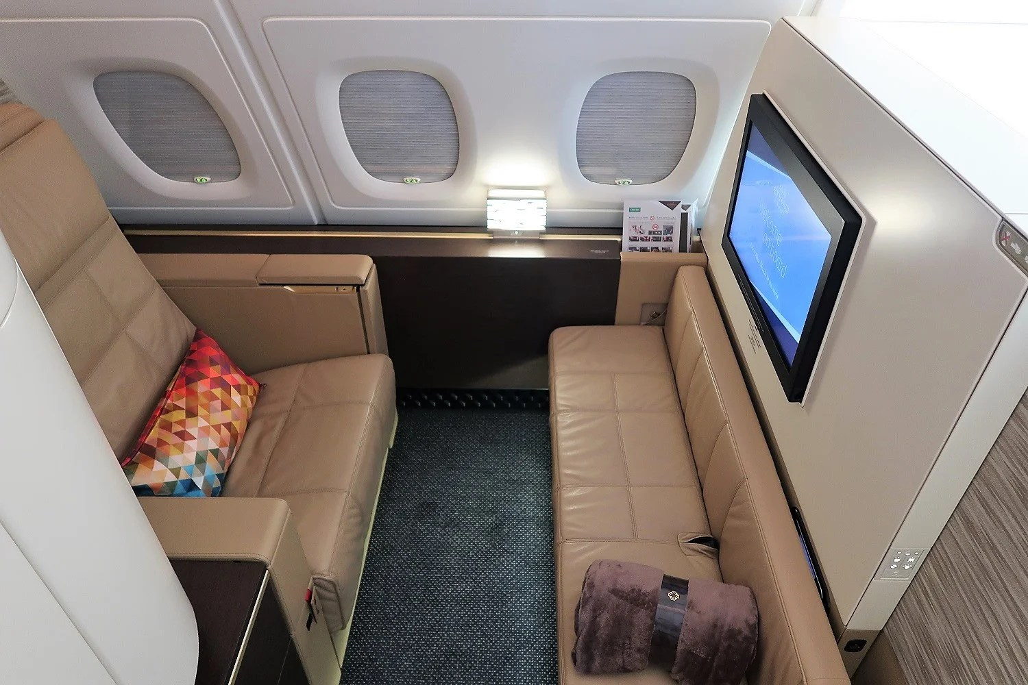 A Little Less Lustrous but Still First Class: Etihad's Apartment on the A380 From Abu Dhabi to New York
