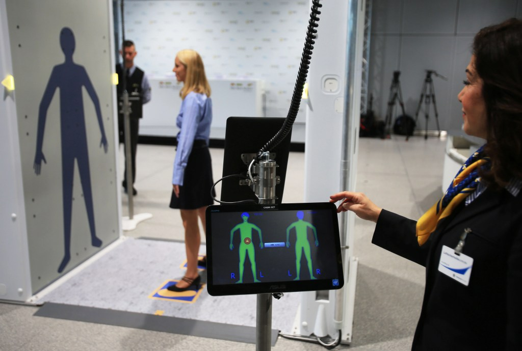 The images of a full-body scanner can be seen on a monitor in Cologne, Germany, 15 November 2016. Authorities and air travel companies have jointly presented a new system of control for flight guests and luggage at the airport Cologne/Bonn. The security process will be adjusted accordingly, revised and combined with new technology. Photo: Oliver Berg/dpa | usage worldwide (Photo by Oliver Berg/picture alliance via Getty Images)