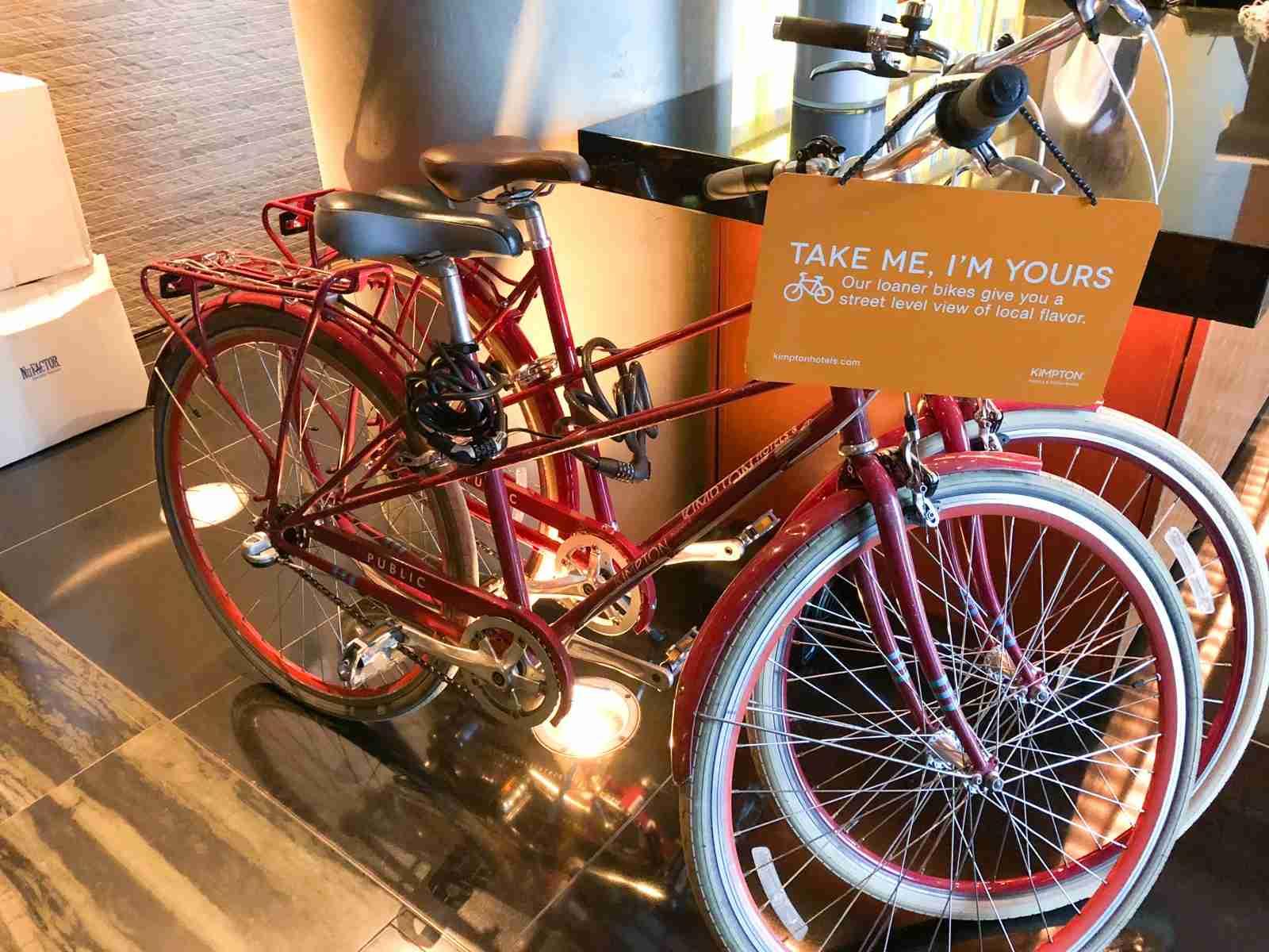 Bikes to borrow at Kimpton Ink48. (Photo by Summer Hull/The Points Guy)