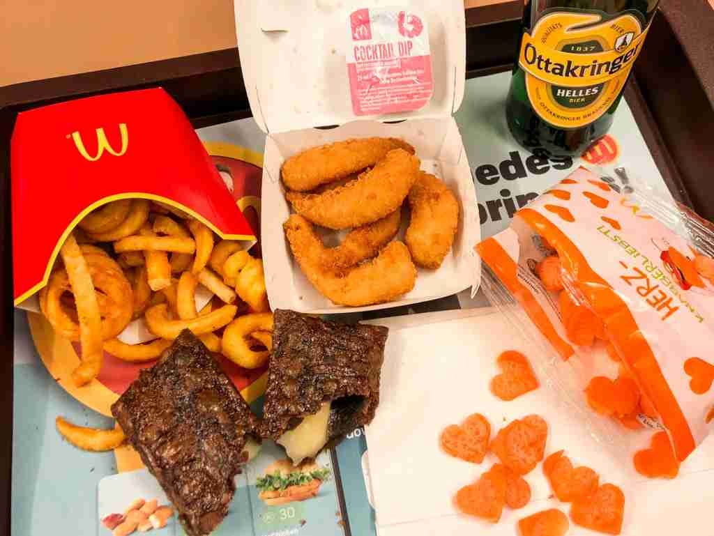 McDonalds meal in Vienna, complete with beer