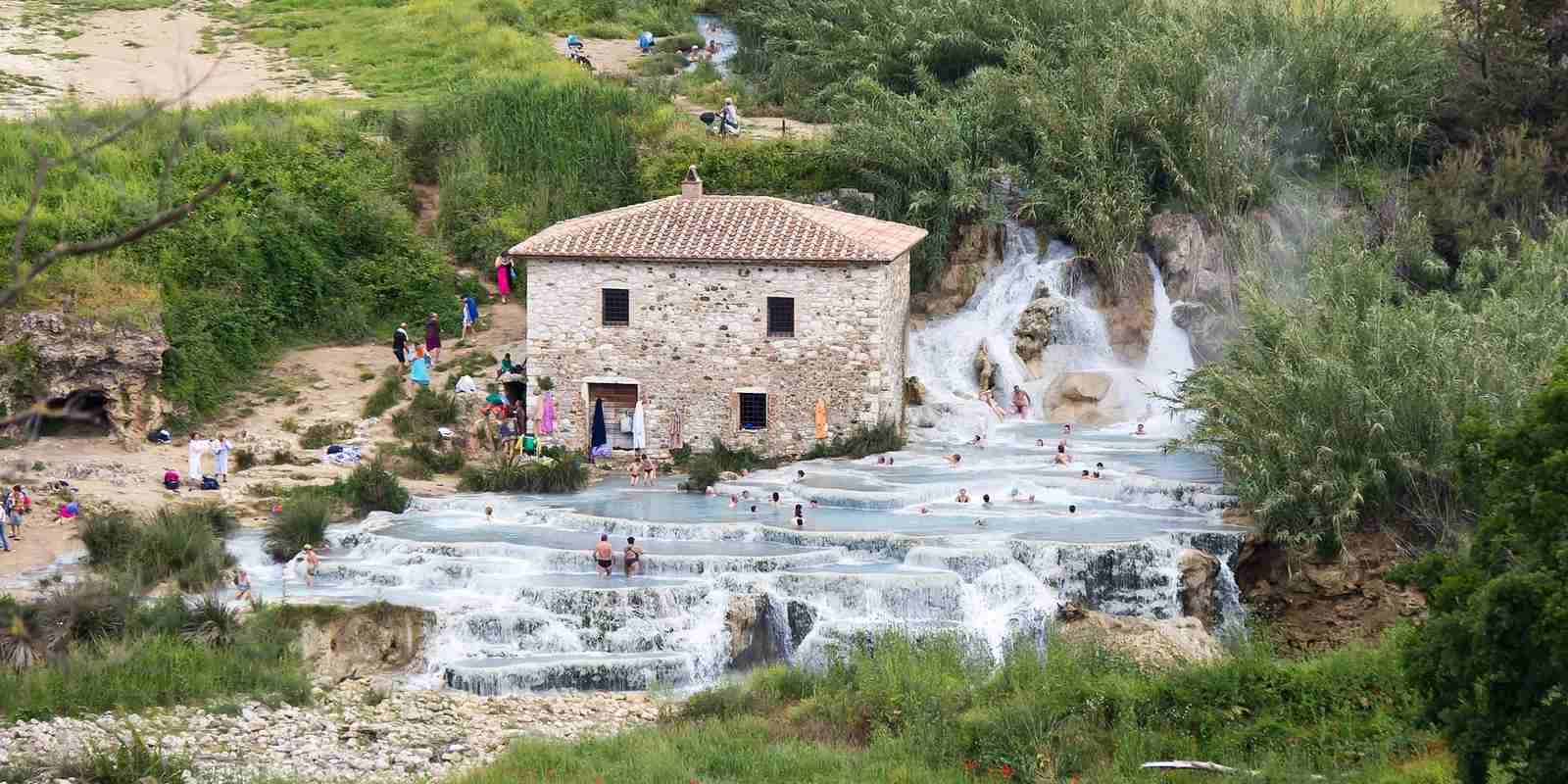 The falls at Terme di Saturnia. (Photo via Wikimedia Commons)