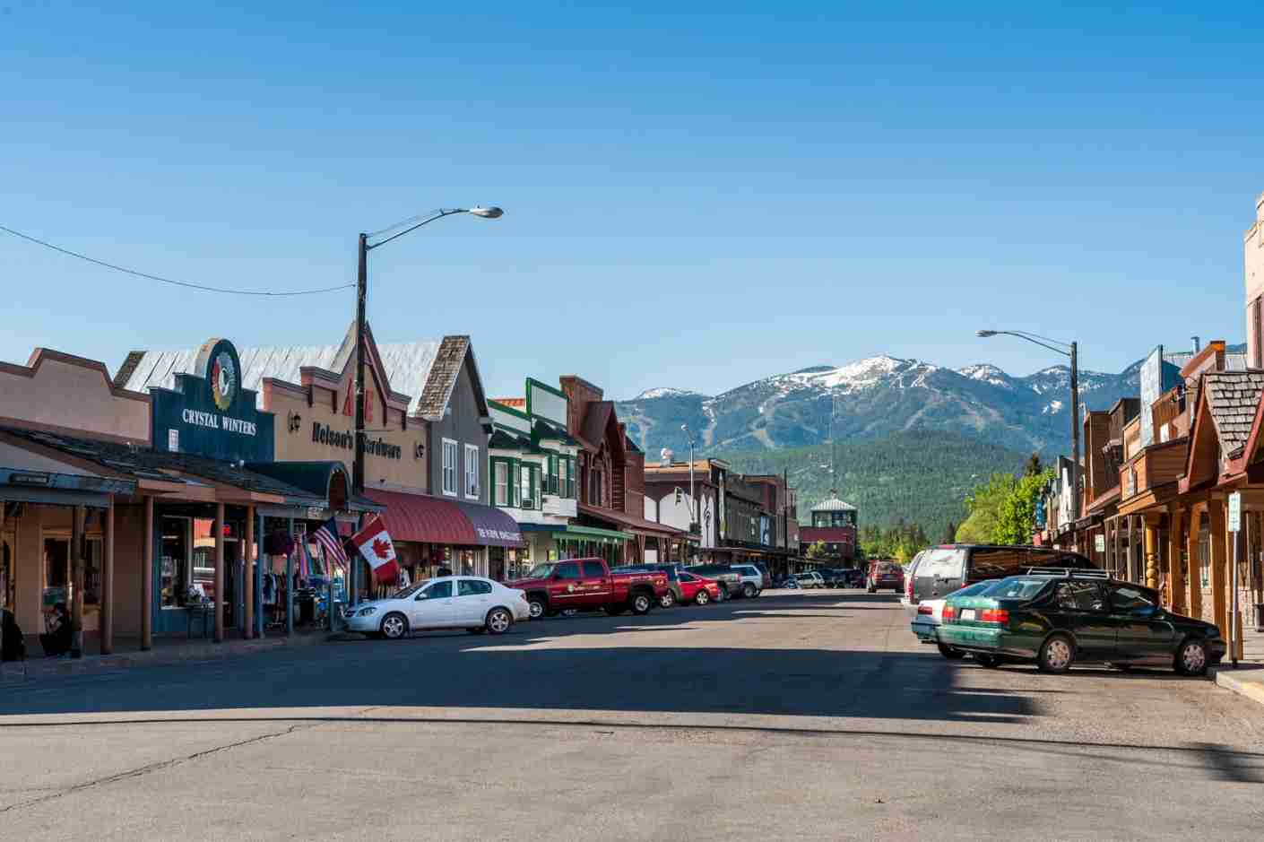 The town of Whitefish, Montana looks out toward the mountains. (Photo via Shutterstock)