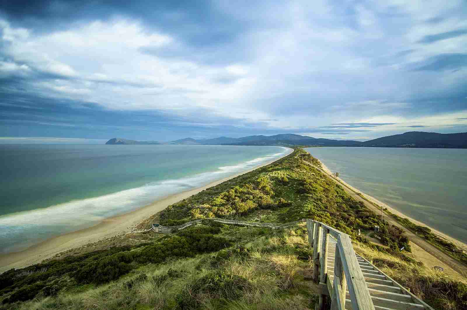 The Isthmus connecting the North and South Bruny Islands, Tasmania. (Photo via Shutterstock)