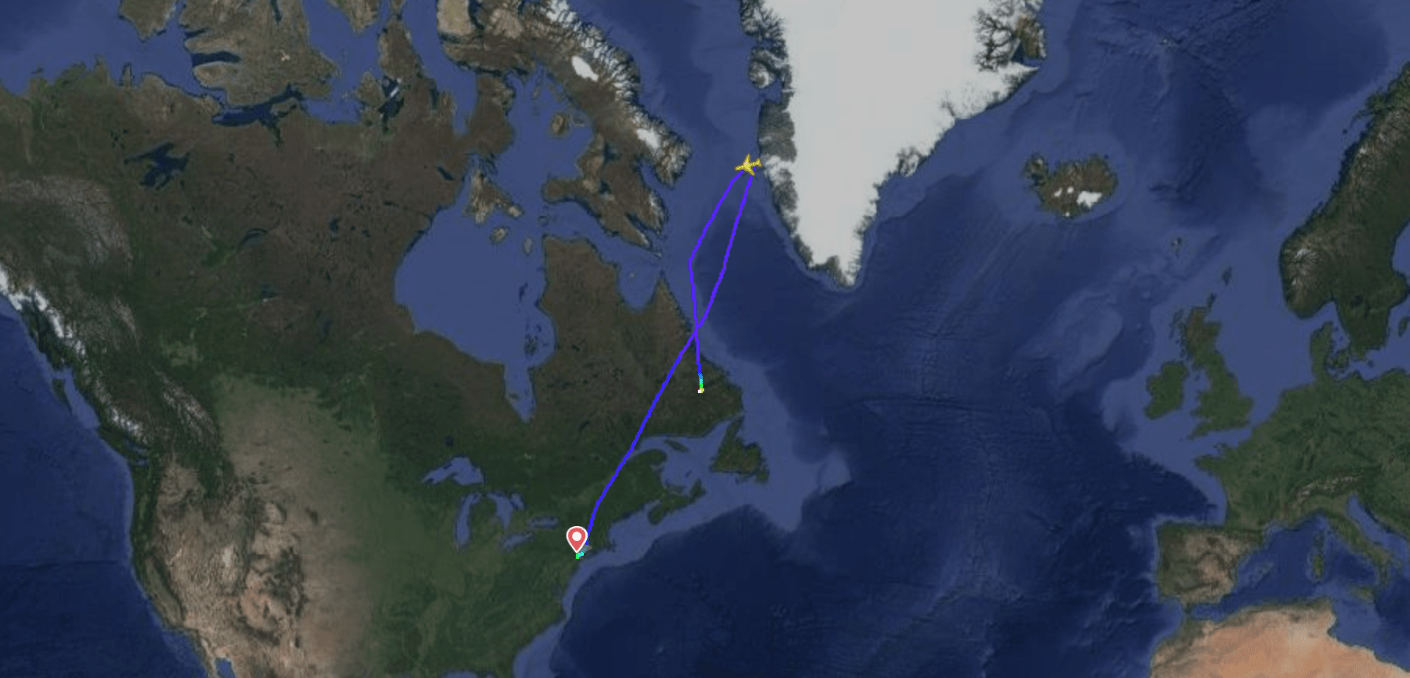 United Airlines flight UA179 turns back towards North America to divert as a result of a medical emergency (Image via Flightradar24)