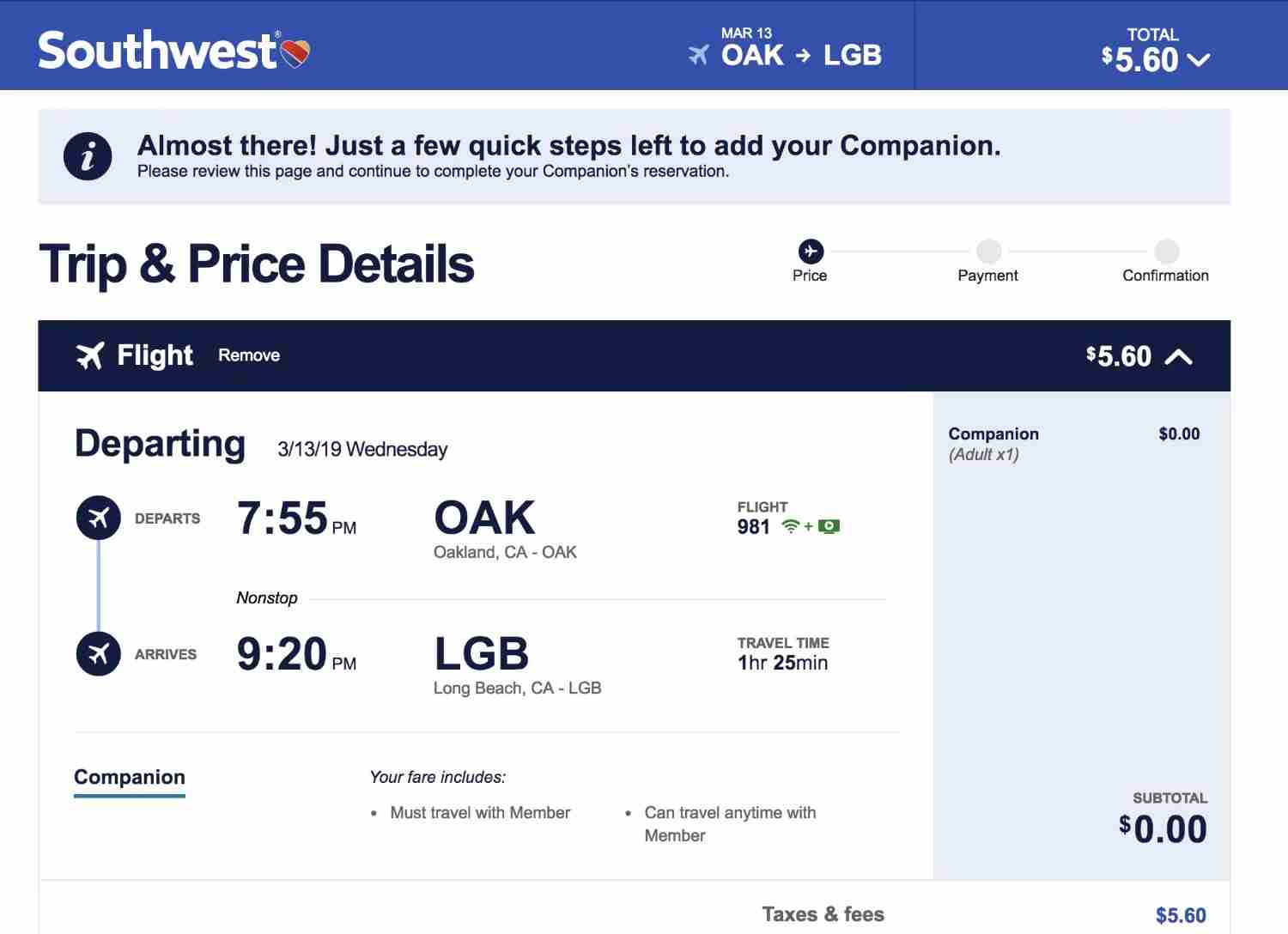 Southwest Companion Pass - Trip Price Details