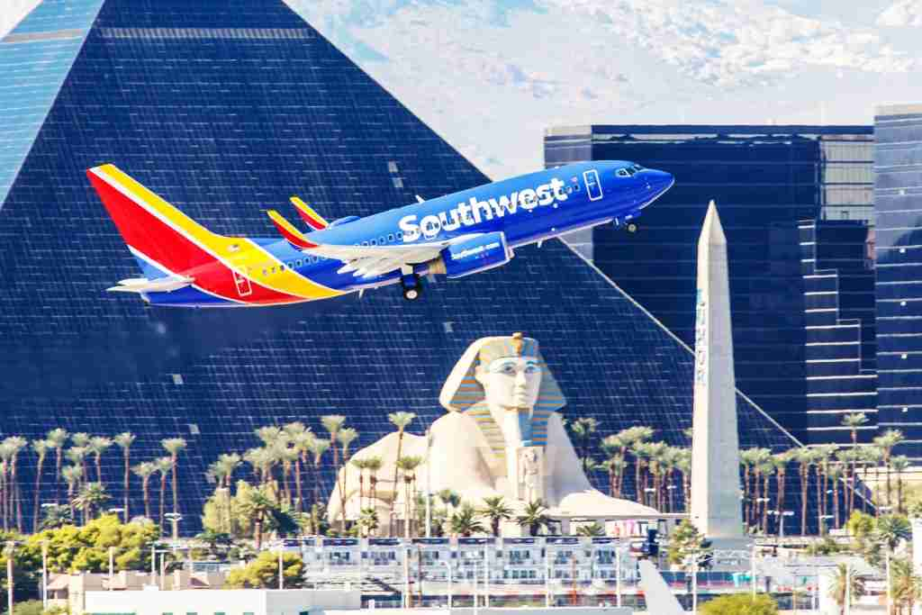 Las Vegas, NV, USA- November 3, 2014: Boeing 737 Southwest Airlines takes off from McCarran International Airport in Las Vegas, NV on November 3, 2014. Southwest is a major US airline and the world