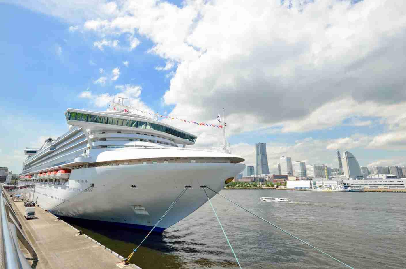 The Diamond Princess, a Princess Cruise line ship, docked in Yokohama, Japan. (Photo via Shutterstock)