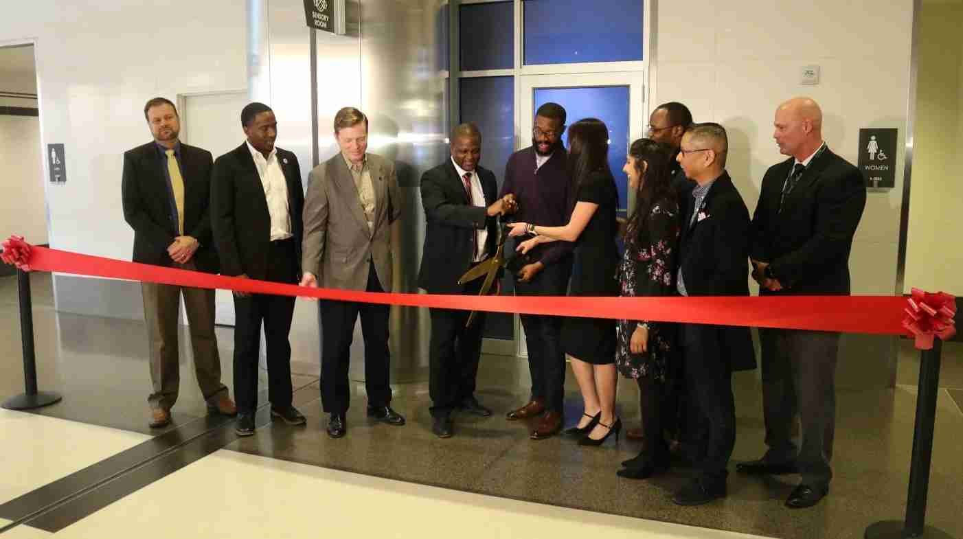 The rope is cut to open the BHM Airport Sensory Room (Image courtesy of BHM Airport)