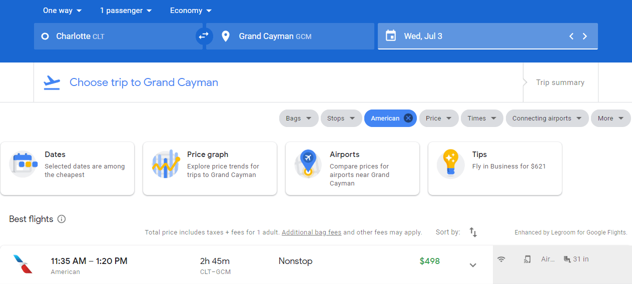 $498 one-way from Charlotte to Grand Cayman.