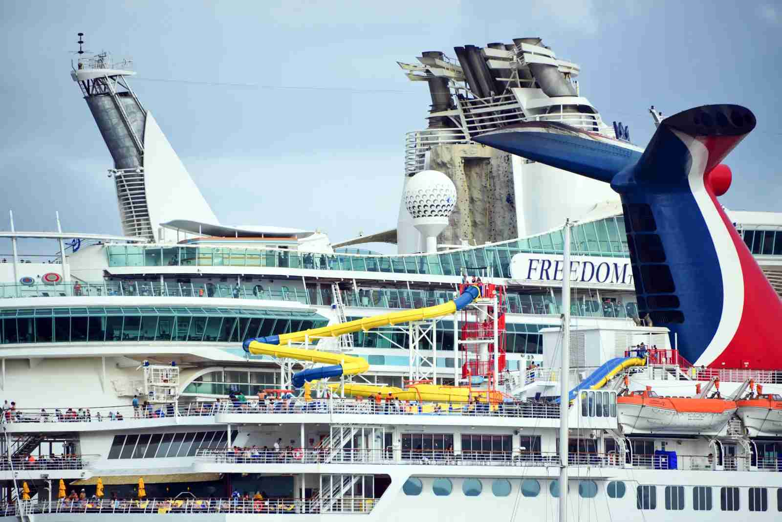 Passengers enjoying a water park on the cruise ship Carnival Fascination. (Photo via Getty Images)