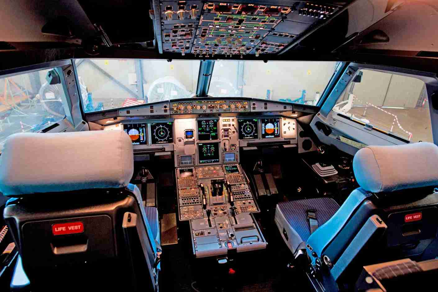Picture shows the cockpit of the new Airbus A 320 neo aircraft model presented by the Spanish low-cost airline Vueling at Barcelona