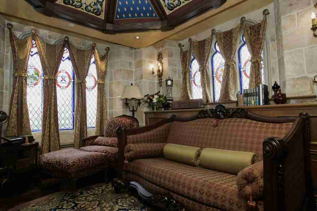 Lake Buena Vista, UNITED STATES: An interior view of the sitting room in the royal suite inside Cinderella