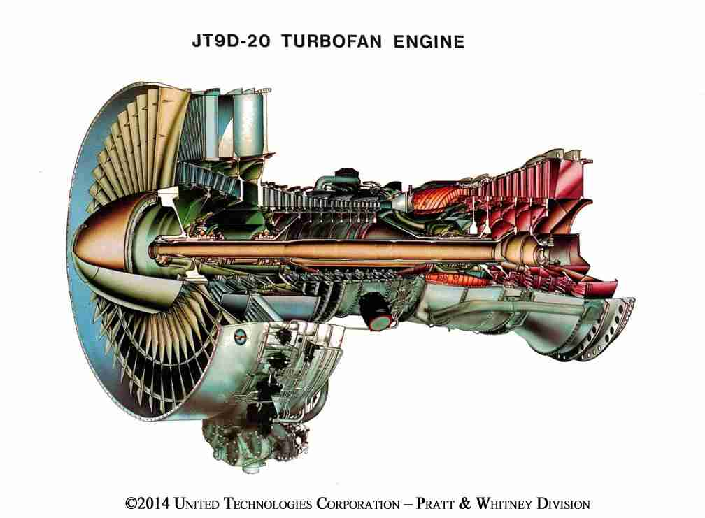 The JT9D - the first to power the Boeing 747. Image via Pratt & Whitney.