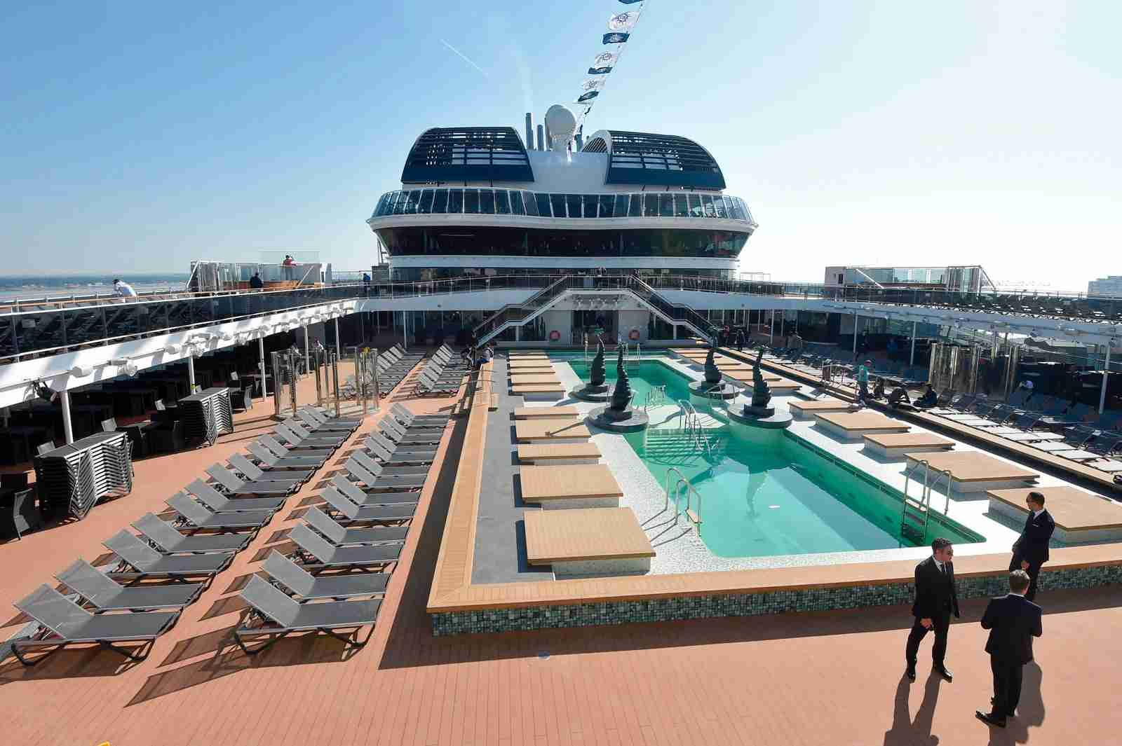 "A swimming-pool on a deck of the MSC Bellissima cruise ship at ""Chantiers de l"