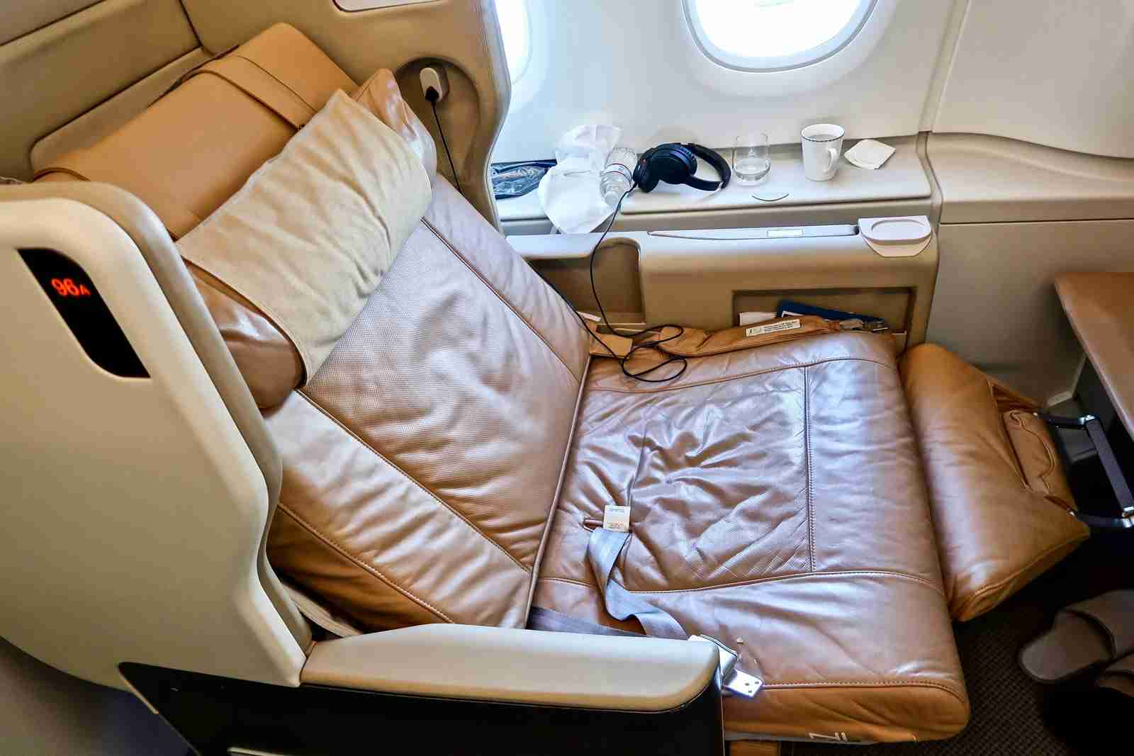 Singapore Airlines Business-class seat.