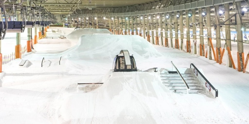 places you can ski and snowboard indoors all year round