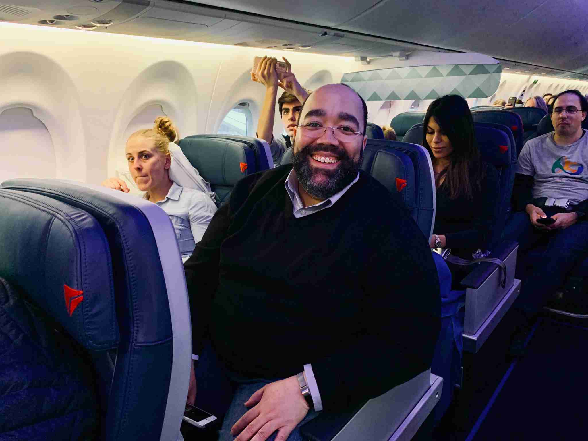 TPG reader Nick settles in for a day of flying aboard Delta