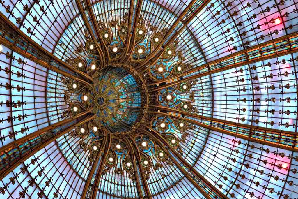 The ceiling at the Galleries Layfette department store in Paris.