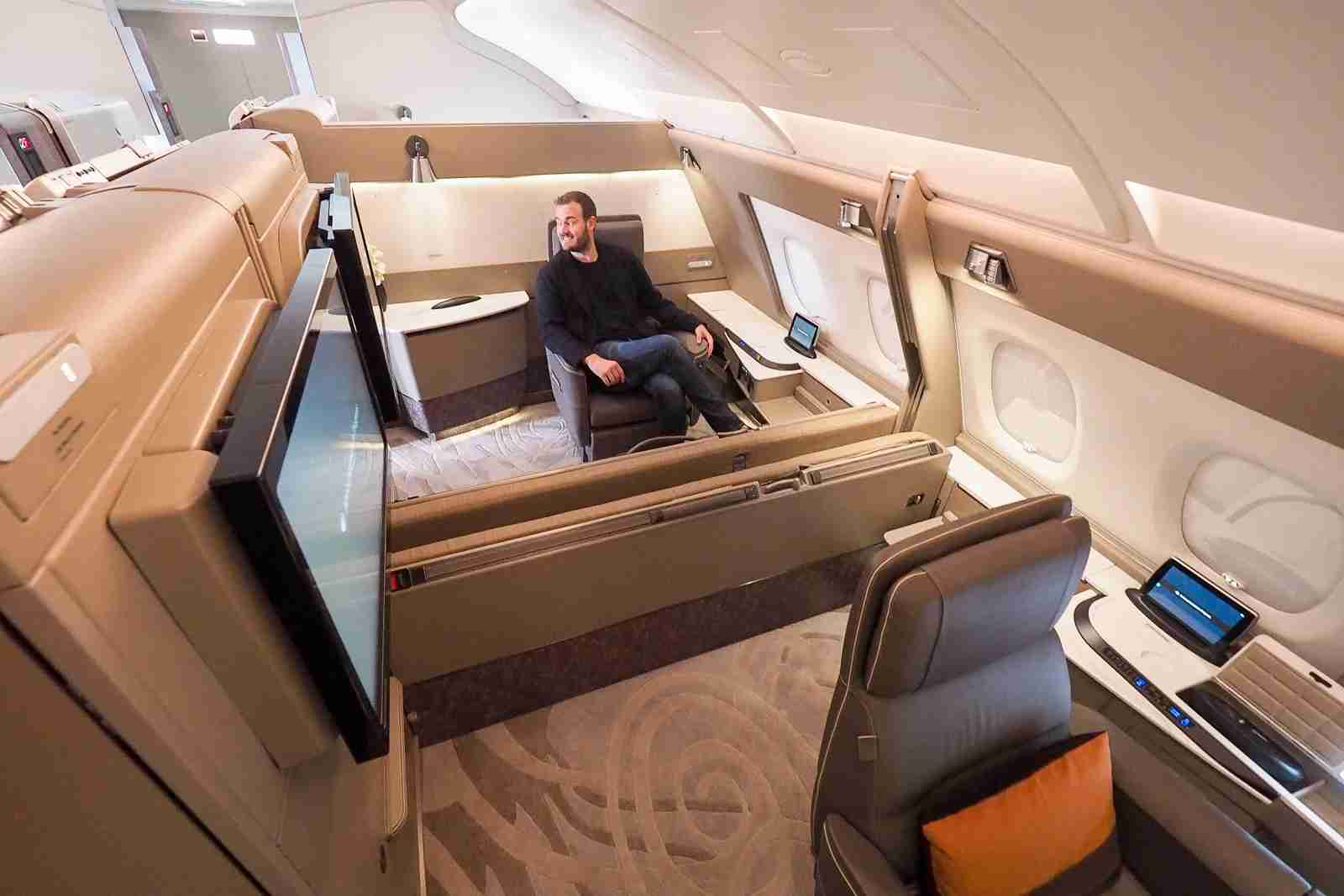 Singapore Airlines A380 First Class Suites. Photo by Brian Kelly / The Points Guy