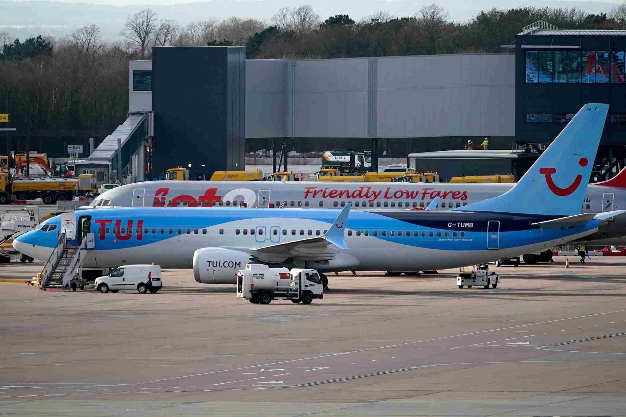 MANCHESTER, ENGLAND - MARCH 12: A TUI Boeing 737 Max-8 aircraft is parked at Manchester Airport on March 12, 2019 in Manchester, England. The Civil Aviation Authority has grounded Boeing 737 Max-8 aircraft and forbidden them from flying through UK airspace following the Ethiopian Airlines crash this week. (Photo by Christopher Furlong/Getty Images)