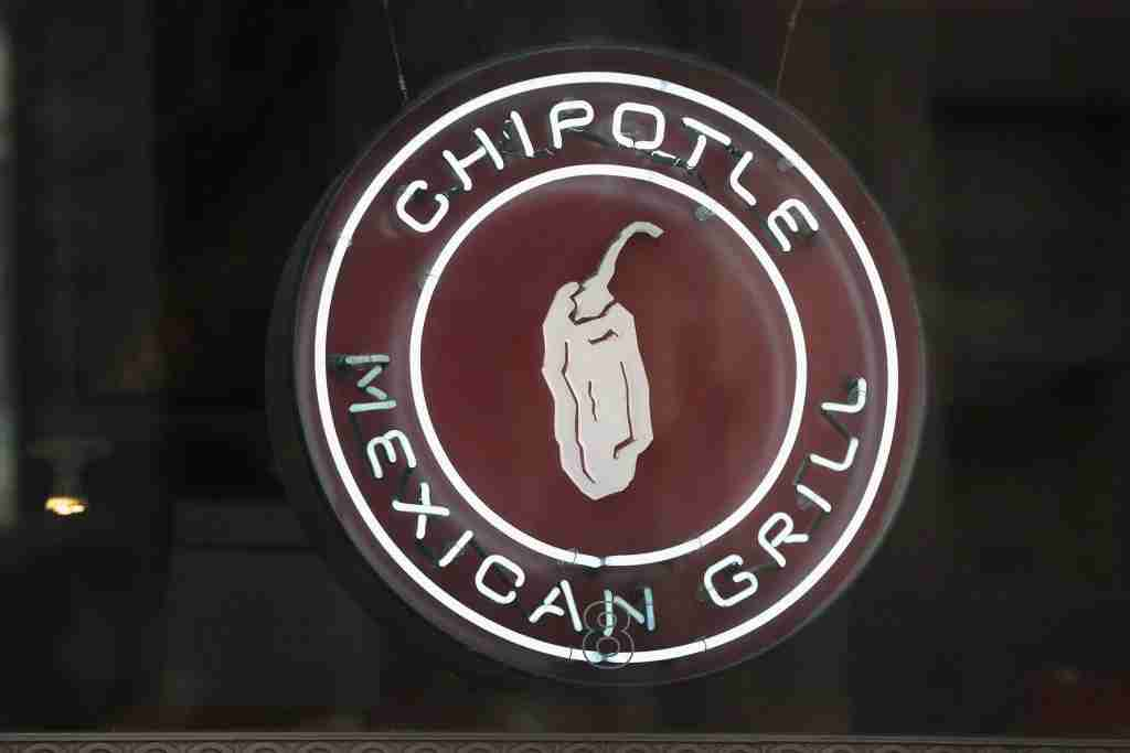 CHICAGO, IL - OCTOBER 25: A sign marks the location of a Chipotle restaurant on October 25, 2017 in Chicago, Illinois. Chipotle stock fell more than 14 percent today after a weak 3Q earnings . (Photo by Scott Olson/Getty Images)