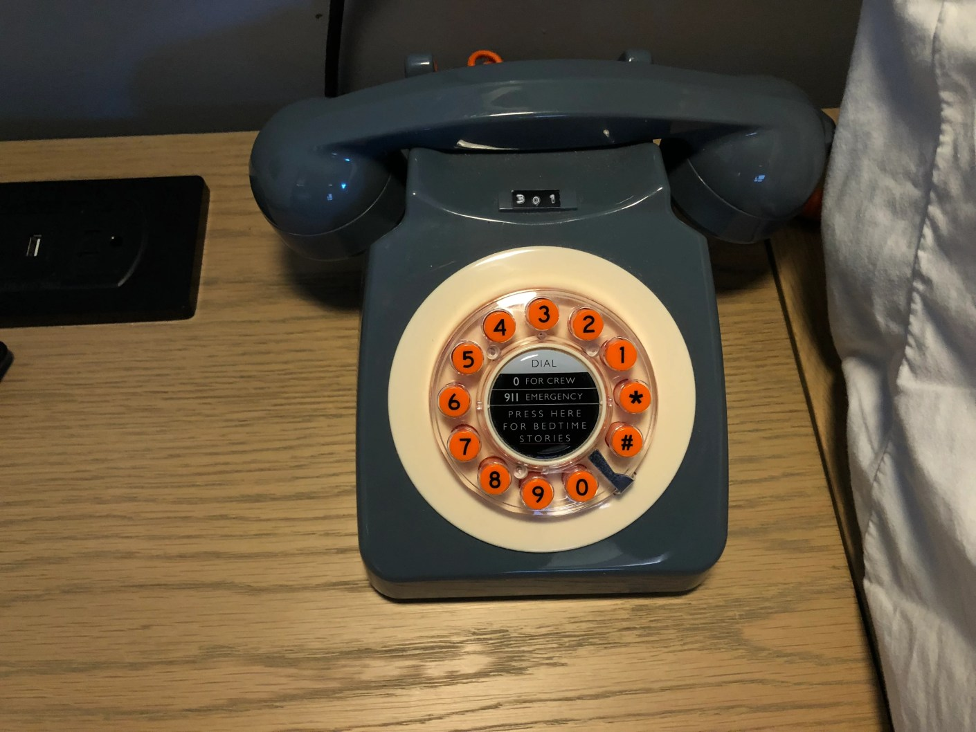 A retro in-room phone at the Moxy Hotel Seattle