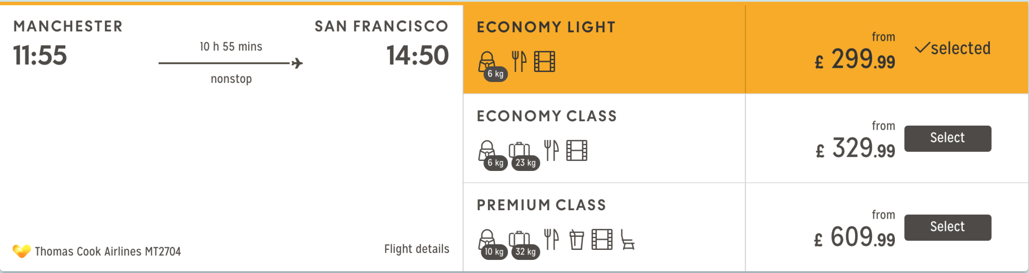 Select Economy Class to reserve a Sleeper Seat