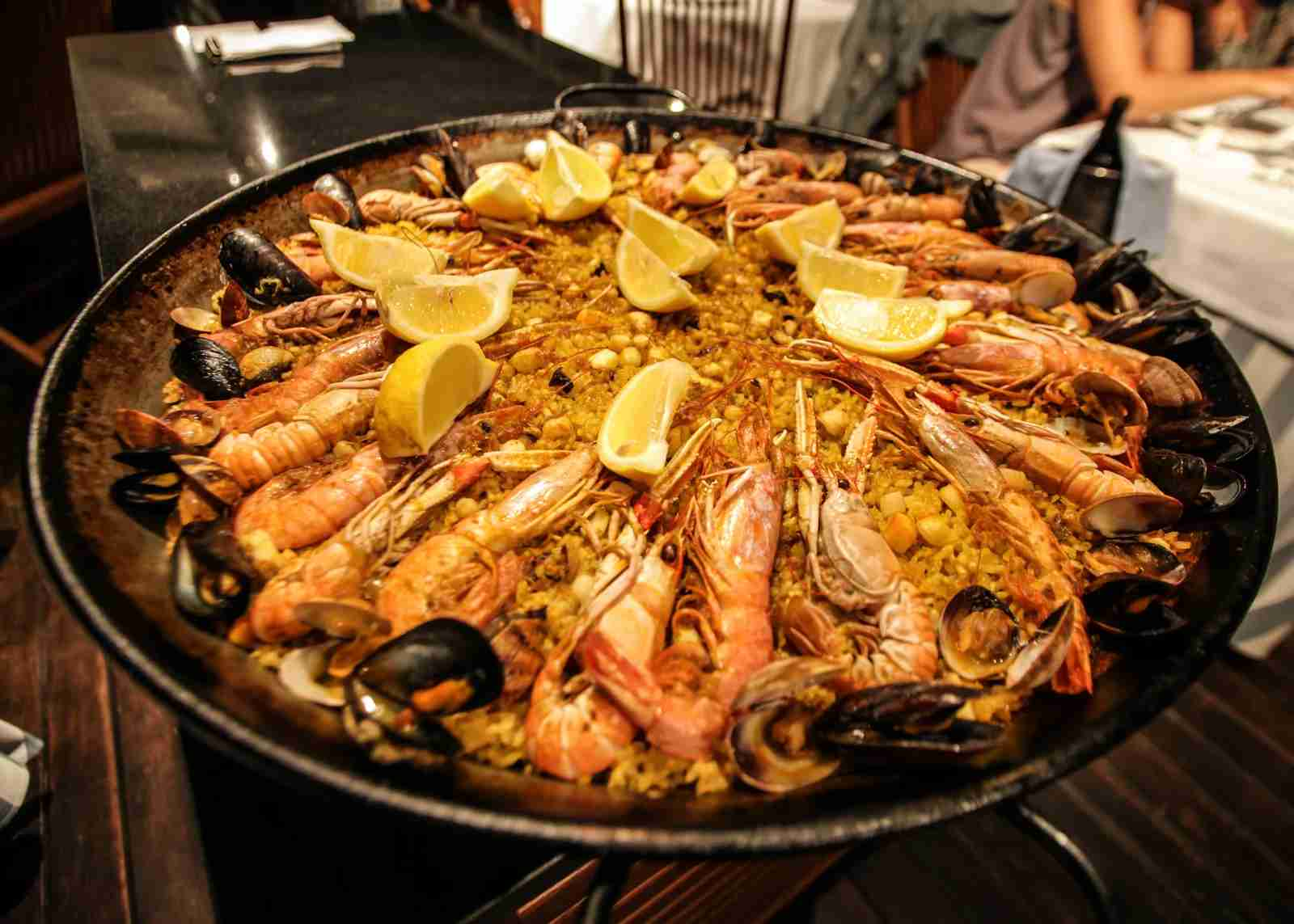 Traditional Paella served at a restaurant in Barcelona, Spain. (Photo via Getty Images)