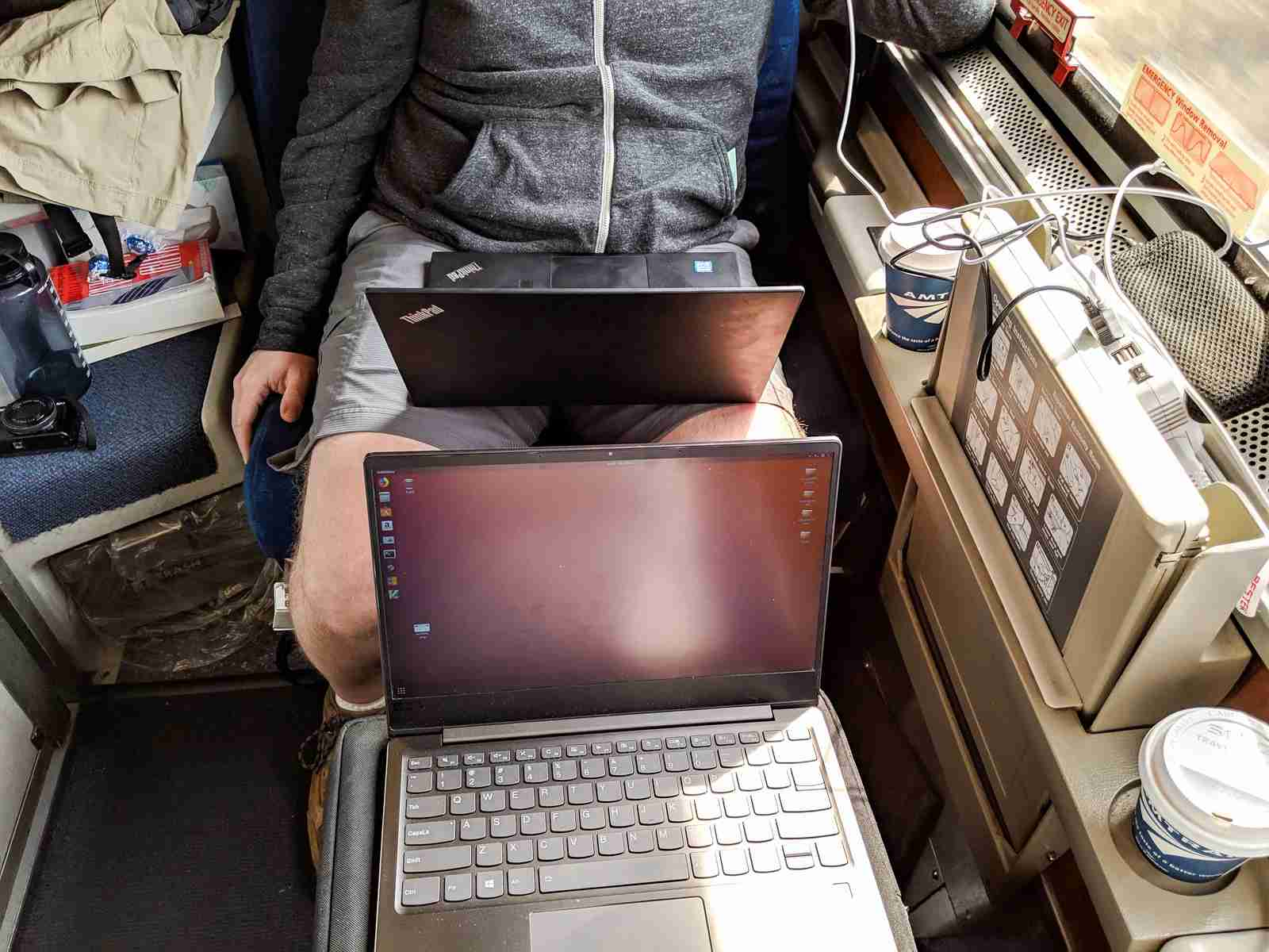 It was comfortable for both of us to work on our laptops in the roomette.