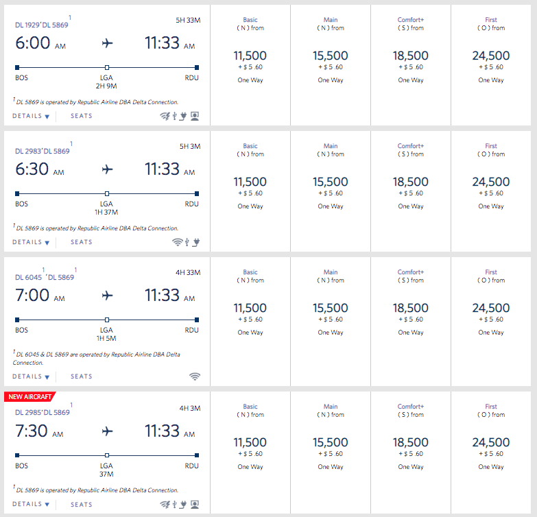 Those BE rates are about what Delta used to charge for Main Cabin