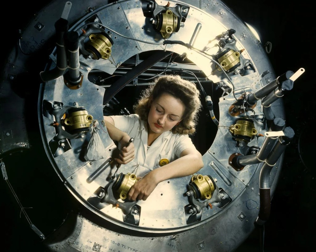 October 1942: A worker assembles part of the cowling for a B-52 bomber motor at the North American Aviation plant in Inglewood, California.ALFRED T. PALMER/LIBRARY OF CONGRESS