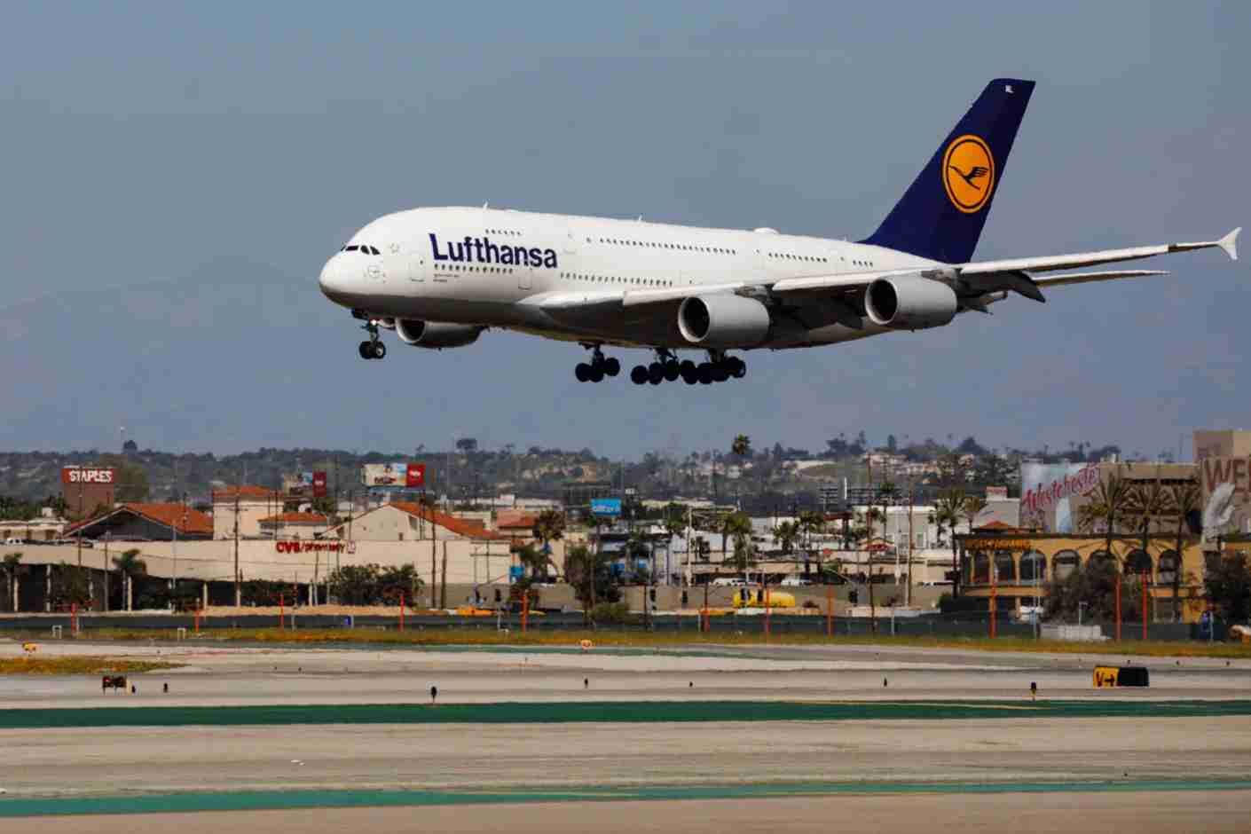 A Lufthansa Airbus SE A380 (Registration D-AIML) lands at Los Angeles International Airport (LAX) on Friday, March 29, 2019 in Los Angeles, Calif. © 2019 Patrick T. Fallon for The Points Guy