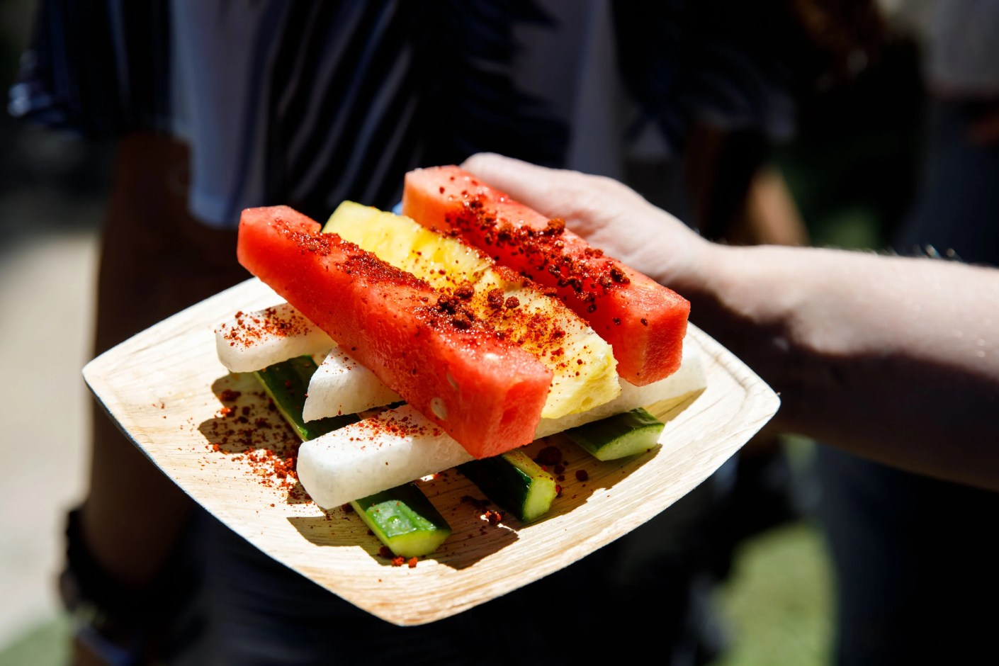 Delicious fresh cut fruit with chili and lime. (Photo by Patrick T. Fallon/The Points Guy)