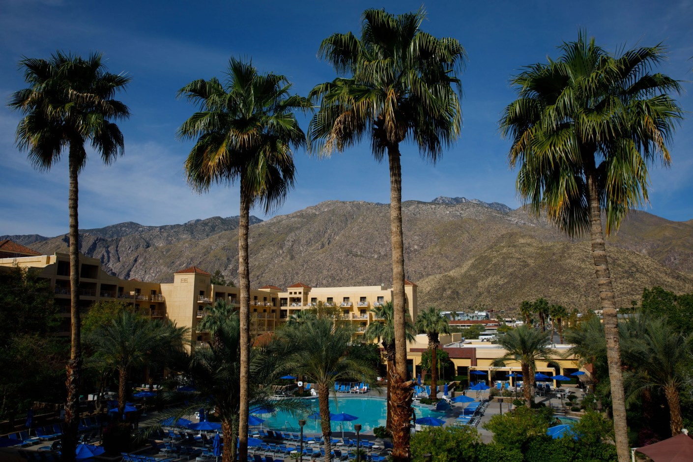 "The balcony view of the pool from the third floor ""junior suite"" of the Renaissance Palm Springs hotel on Sunday, April 14, 2019 in Palm Springs, Calif. (Photo by Patrick T. Fallon/The Points Guy)"
