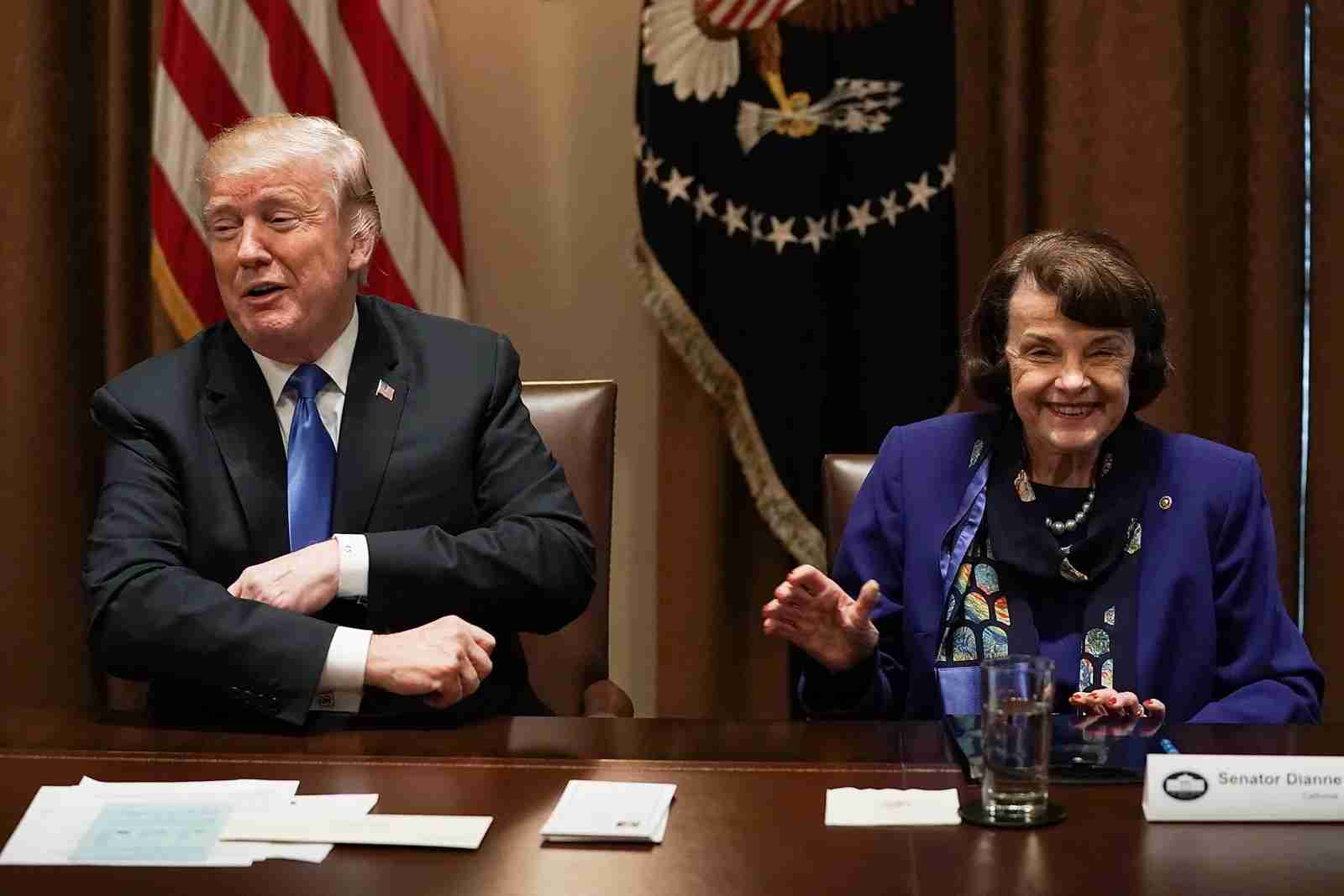 U.S. President Donald Trump (L) and Sen. Dianne Feinstein (D-CA) (R). (Photo by Alex Wong/Getty Images)