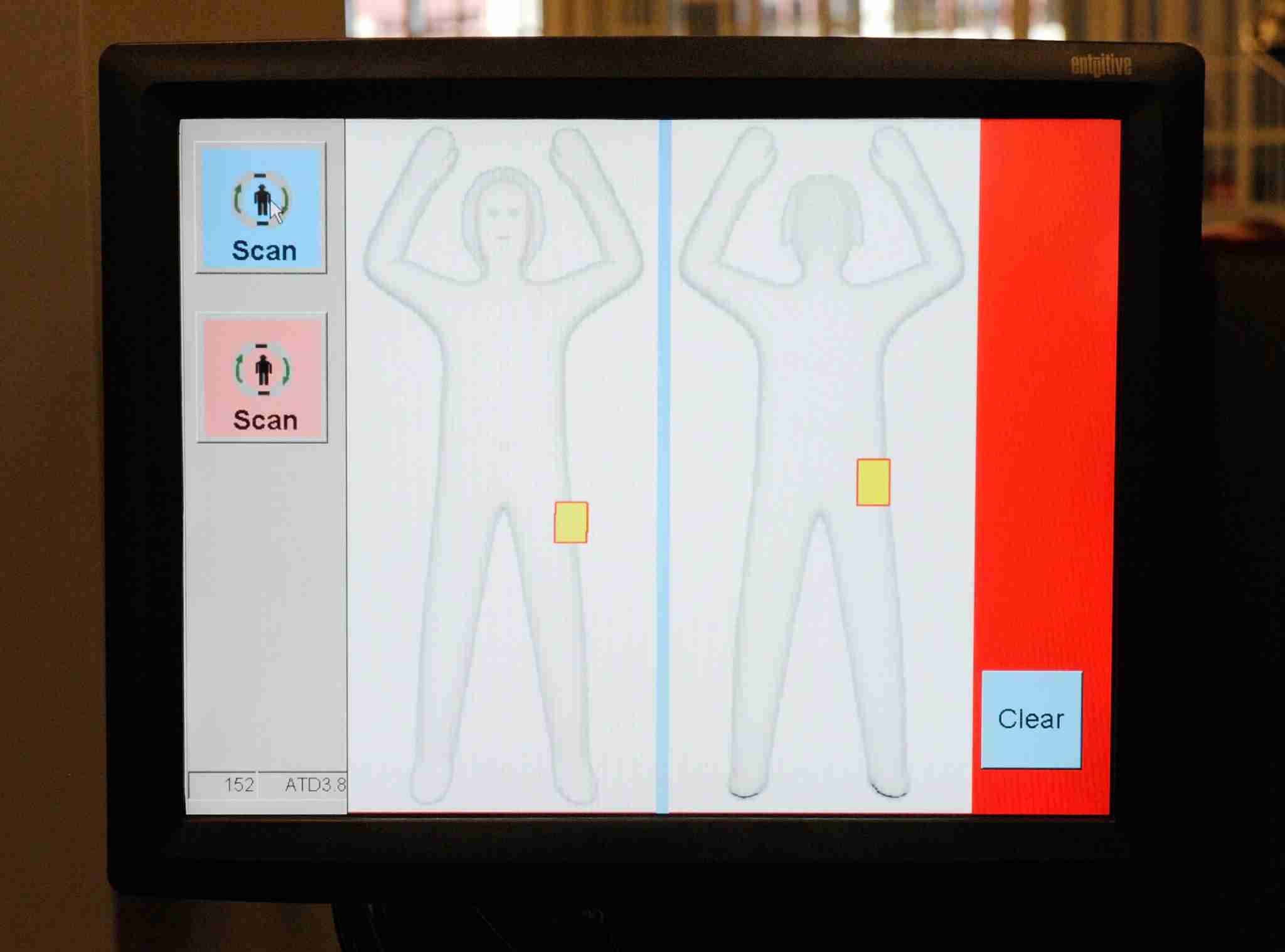 Body scanners relay an image to TSA agents if a traveler triggers the scanner. This is the image that TSA agents use to determine the region that should be subject to additional screening (Photo by Ethan Miller/Getty Images)