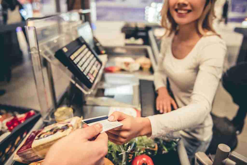 Generic card, groceries, supermarket, cashier