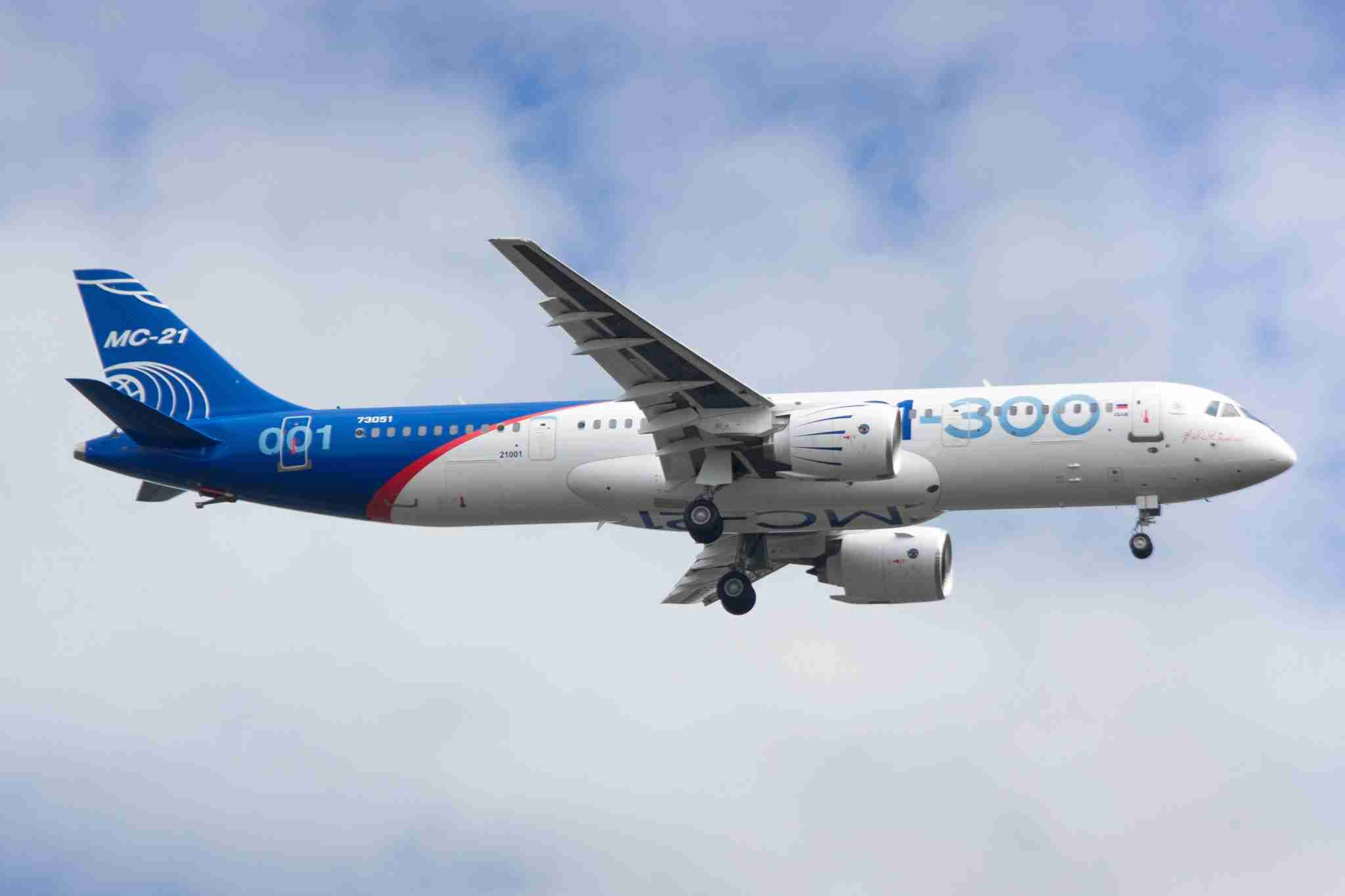 IRKUTSK, RUSSIA - MAY 28, 2017: A new Russian-made Irkut MC-21-300 twinjet airliner performs its first test flight at the Irkutsk Aviation Plant airfield. MC-21 is a project of the short- and medium-range (~6,000 km - 3,700 miles) narrow-body jet airliner. Vladimir Baikalsky/TASS (Photo by Vladimir BaikalskyTASS via Getty Images)