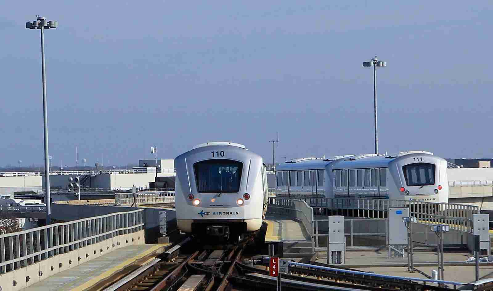 The Airtrain moves along the tracks at JFK airport in New York City. (Photo by Bruce Bennett / Getty Images)