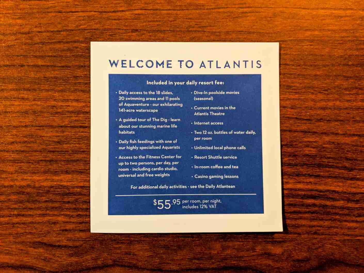 Here is what is included in your resort fees at Atlantis The Beach. (Photo by Katie Genter / The Points Guy)