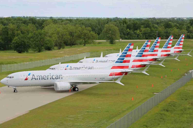 Aeronaves Boeing 737 MAX da American Airlines armazenadas em Tulsa (TUL). (Imagem cortesia da American Airlines)