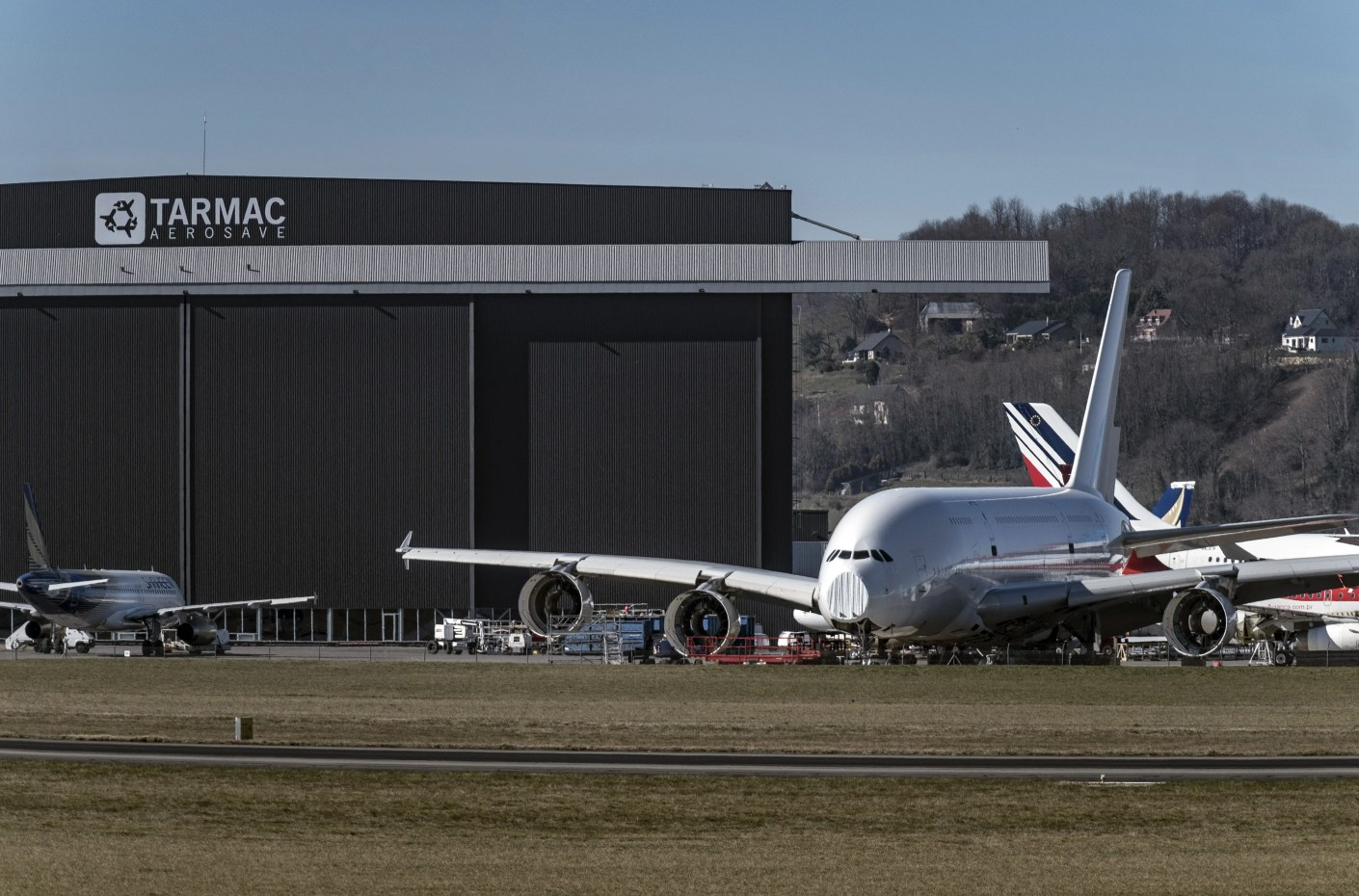 An Airbus A380 on the ramp at Lourdes Airport in France (Image by Balint Porneczi/Bloomberg via Getty Image)