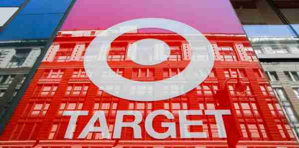 """NEW YORK, NY - MAY 21:  The logo of Target Corporation """"TGT"""" is seen on one of its branch at middle Manhattan on May 21, 2018 in New York, Target is expected to report first-quarter earnings per share of $1.38, up from $1.21 in the same quarter a year ago. Target Corporation is the second-largest discount store retailer in the United States.(Photo by Eduardo Munoz Alvarez/VIEWpress/Corbis via Getty Images)"""