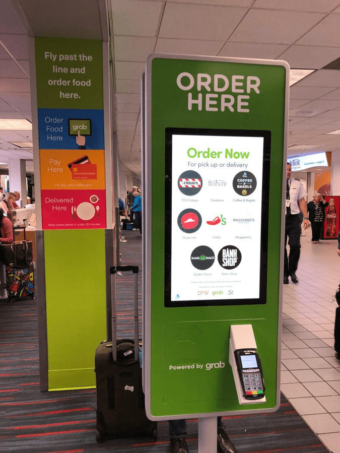 A Grab Kiosk is seen in Terminal C at Dallas/Fort Worth International Airport. (Photo courtesy of Grab)