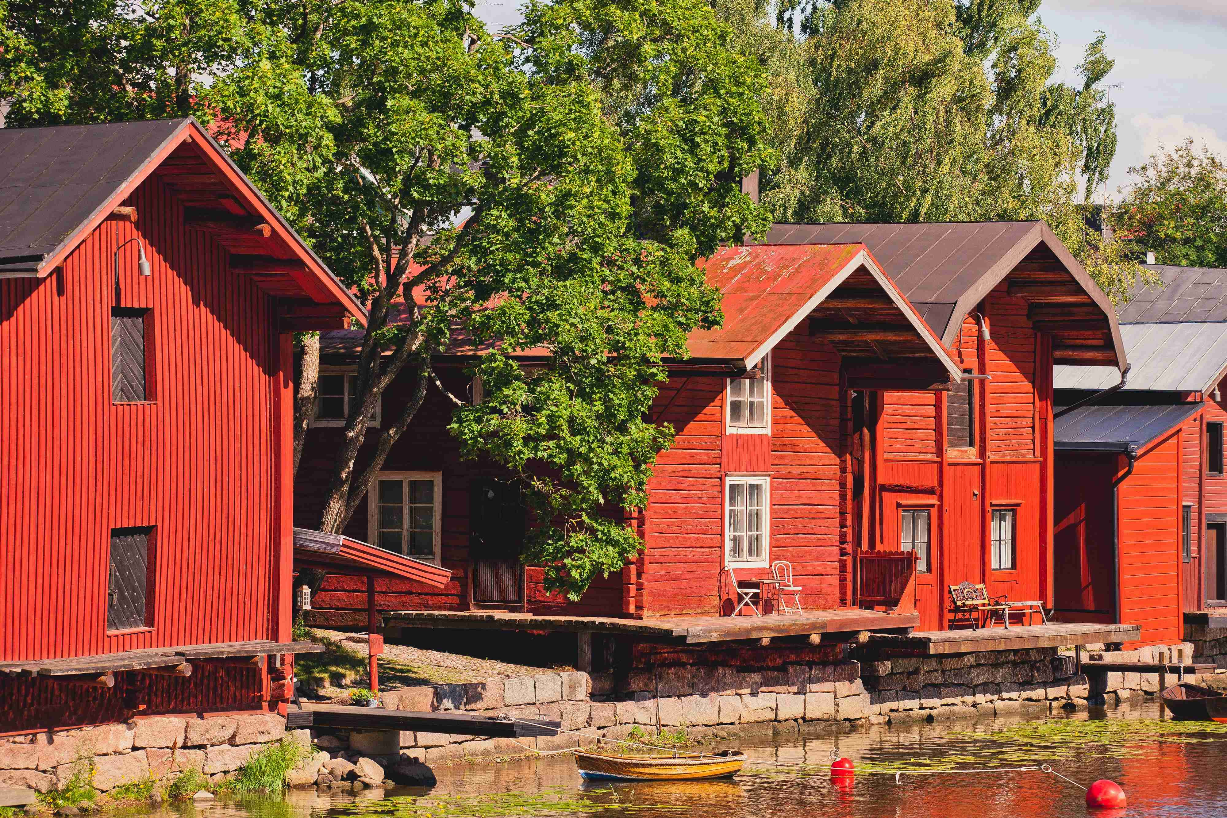 The signature red buildings in Porvoo were originally built as warehouses in the 1800