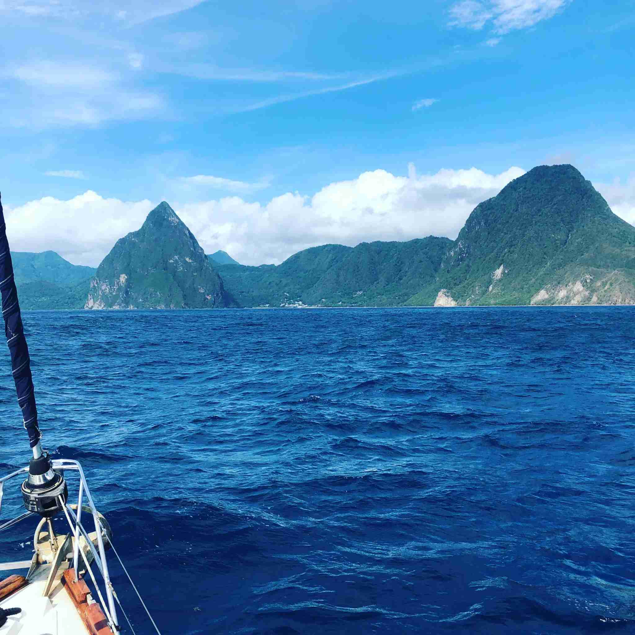 The view of the Pitons in St Lucia from a yacht