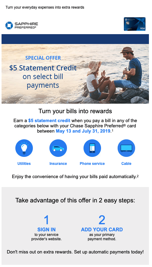 Pay Bill With Chase Sapphire Preferred and Get $5 Back